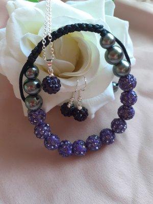 Collana di perle viola-grigio