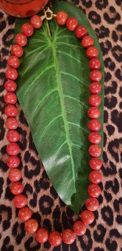Collier de perles orange-rouge