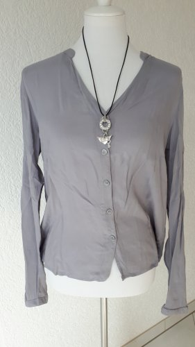 Blue Motion Stand-Up Collar Blouse slate-gray