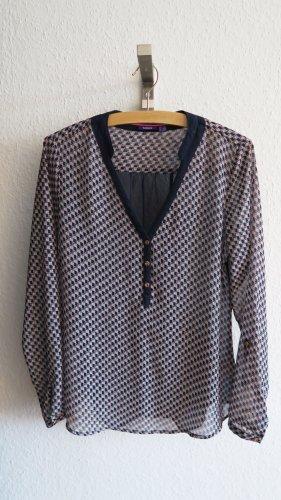 schicke Bluse mit Muster blau rosa