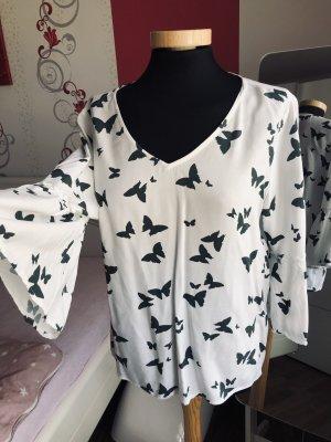Street One Blusa con lazo blanco-gris