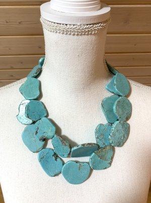 Collar color plata-azul claro