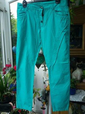Spodnie typu boyfriend turkusowy-zielona łąka