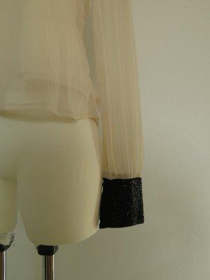 schicke creme Bluse mit schwarzen Pailetten für Büro Gr. S