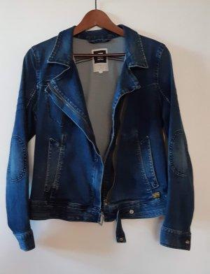 Schicke dunkelblaue Jeansjacke im Bikerschnitt von G-Star