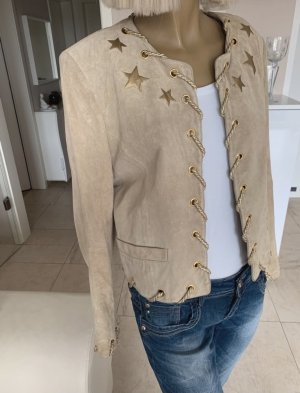 Schicke Echt-Leder Jacke .. elegant .. beige/gold.. Vintage .. Gr. 38 # Apart #