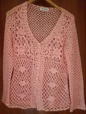 Cardigan all'uncinetto rosa chiaro-rosa
