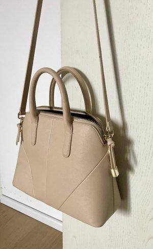 Schicke Handtasche nude-farben Saffiano Leder Imitat