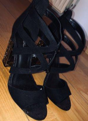 Catwalk Sandales à talons hauts et plateforme noir-argenté