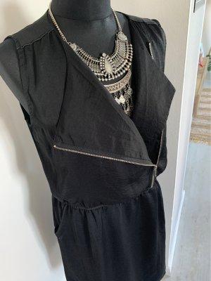 Gabardina tipo vestido negro-color plata