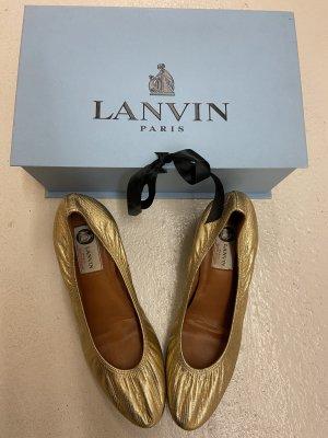 Schicke Lanvin Ballerinas in Gold mit 5cm Absatz