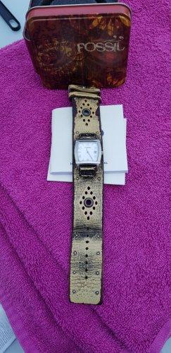 Fossil Reloj con pulsera de cuero color plata-marrón