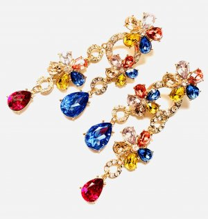 Schicke Luxus Ohrringe Blüten Funkeln Abendkleid