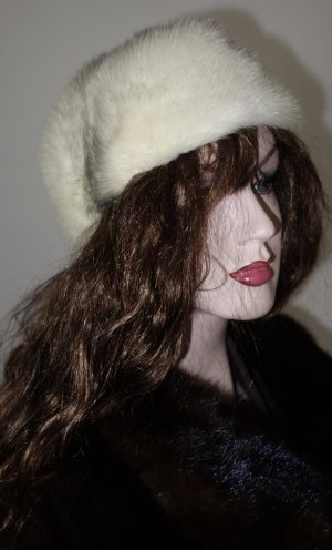 Fur Hat natural white-grey