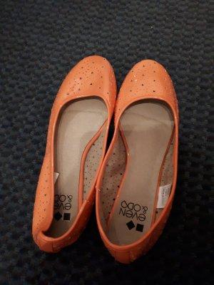 Even & Odd Bailarinas de charol con tacón naranja neón
