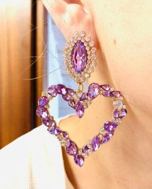 Elegant Boucle d'oreille incrustée de pierres multicolore