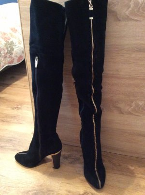 Botas sobre la rodilla negro Gamuza