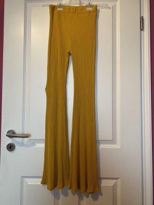 Bershka Jersey Pants gold orange cotton