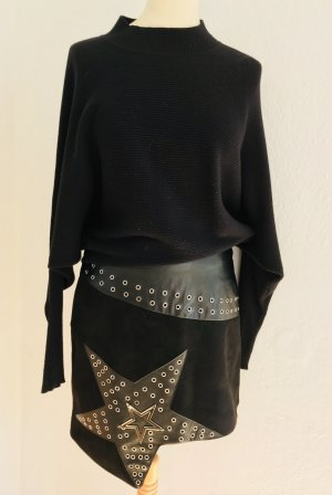 Boohoo Falda asimétrica negro-color plata Algodón