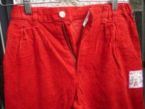 Vintage Pantalon en velours côtelé rouge fluo