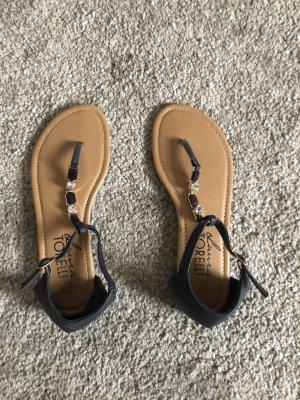 Laura Torelli Flip-Flop Sandals dark blue-beige