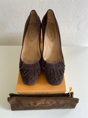 Tod's Escarpin Salomé taupe-brun foncé cuir