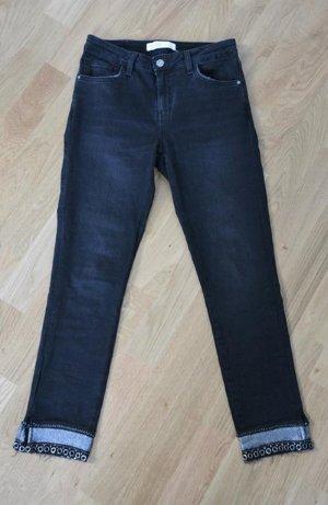 Zara Basic Jeans a 7/8 nero-argento Tessuto misto