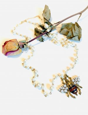 Statement Necklace gold-colored-white