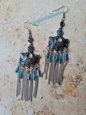 schicke Statement Ohrhänger mit blauen Steinchen silberfarben