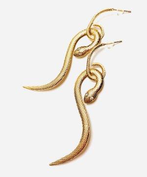 Boucle d'oreille incrustée de pierres doré-blanc