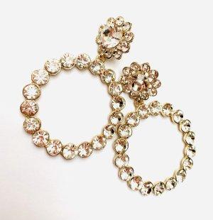 Vintage Boucle d'oreille incrustée de pierres doré-blanc