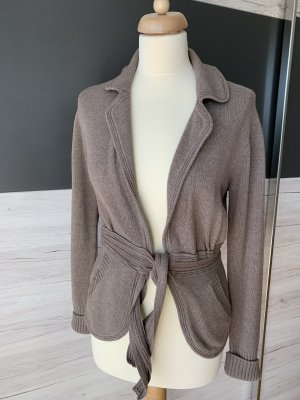Private Industries Knitted Wrap Cardigan light brown cotton