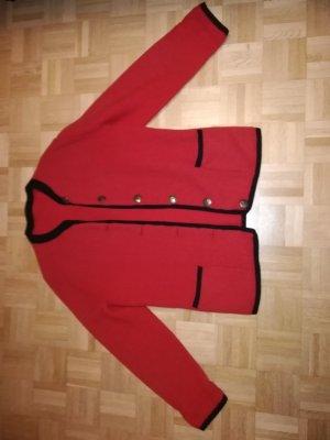 Schicke Trachtenjacke Schurwolle rot mit schwarzen Applikationen DACHSTEIN