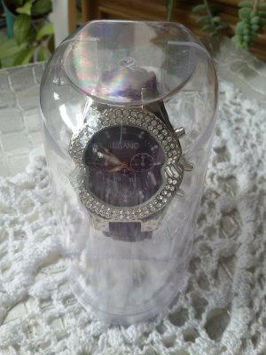Montre avec bracelet en cuir violet-violet foncé