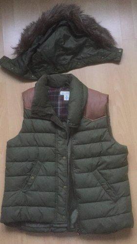 H&M Chaleco con capucha verde oscuro-marrón
