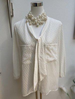 Zara Tie-neck Blouse natural white