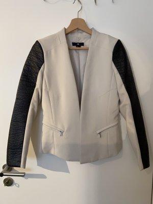 H&M Blazer en cuir noir-beige clair