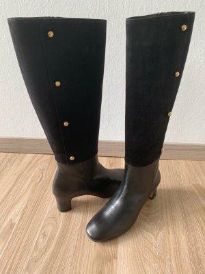 Botas estilo militar negro-azul acero Cuero
