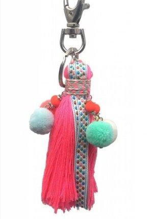 Schicker hyppie Schlüssel-/Taschenanhänger Quaste Bommel pink NEU Es gibt ihn in 3 Farben.