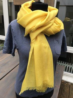 Schicker länger Schal gelb 100%  Wolle