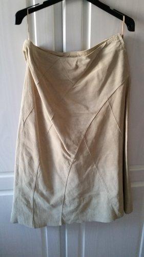 H&M Falda de cuero beige claro