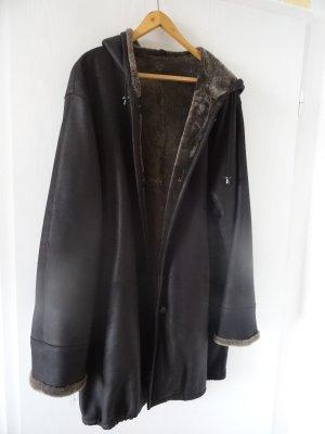 Hooded Coat black brown mixture fibre