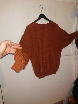 VINTAGE  70er Tradycyjny sweter cognac-czerwony