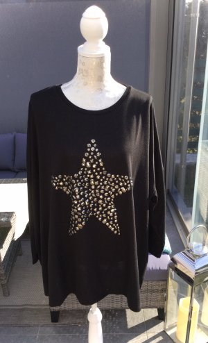 100% Fashion Kraagloze sweater zwart-zilver