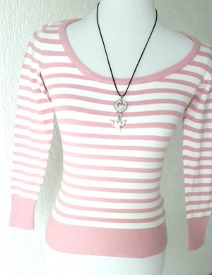 Amisu Kraagloze sweater wit-lichtroze