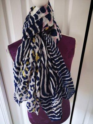 Schicker Schal Schal aus Baumwolle blau gelb weiß im leolook NEU