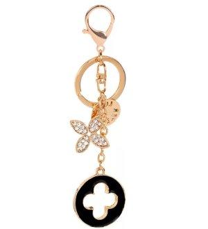 Schicker Schlüssel-/Taschenanhänger Blumen schwarz golden NEU