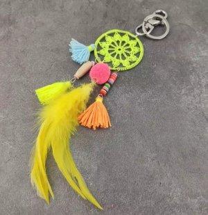 Schicker Schlüssel-/Taschenanhänger Mandalla Hippie Federn gelb Handmade NEU!