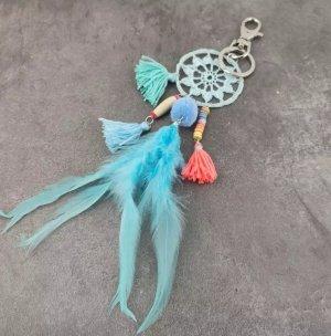 Schicker Schlüssel-/Taschenanhänger Mandalla Hippie Federn türkis Handmade NEU