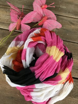 schicker Viscose Sommerschal bunt tolle Farben Streifen pink weiß schwarz gelb rot schicker Sommerschal bunt 100 % Viscose ca. 50 x 185 cm